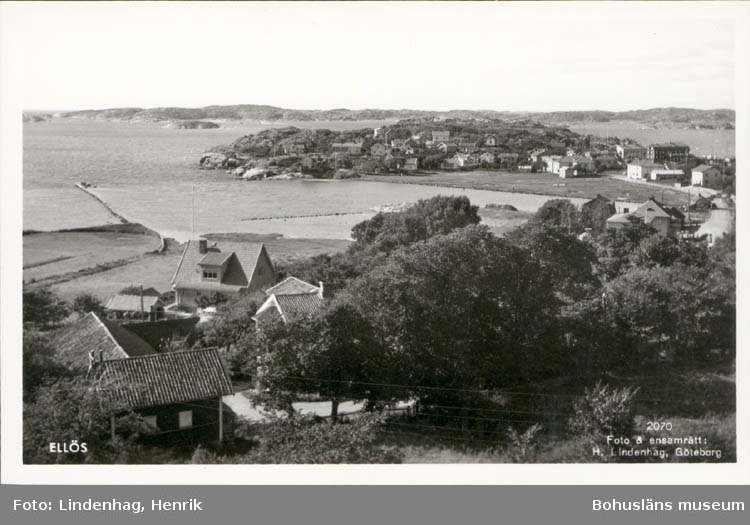 """Tryckt text på kortet: """"Ellös."""" Noterat på kortet: """"Ellös Morlanda Orust. 12 Aug. 1955."""" """"Utsikt nordväst, över Ellösfjorden mot Skaftö."""""""