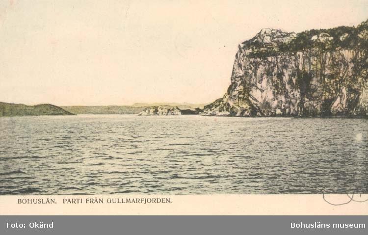 """Tryckt text på kortet: """"Bohuslän. Parti från Gullmarsfjorden."""" ::"""