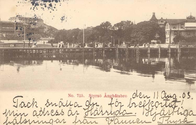 "Tryckt text på kortet: ""Styrsö. Ångbåtsbro."""