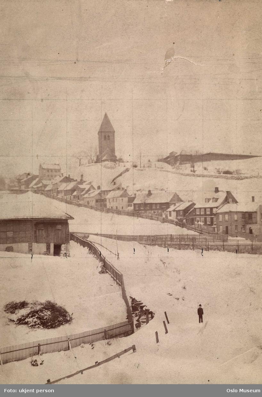 kulturlandskap, trehusbebyggelse, Gamle Aker kirke, snø