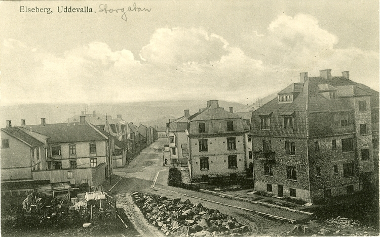 """Tryckt text på vykortets framsida: """"Elseberg, Uddevalla."""" ::"""