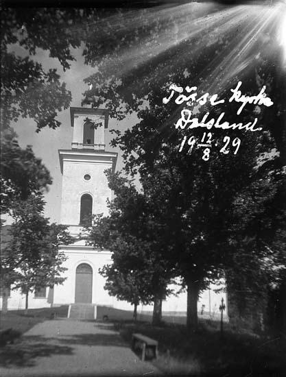 """Enligt text på fotot: """"Tösse kyrka, Dalsland. 12/8 1929""""."""
