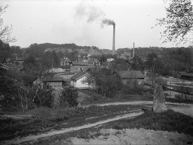 """Enligt fotografens noteringar: """"Munkedals fabrik omkring 1909."""""""