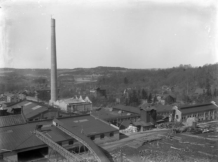 """Enligt fotografens noteringar: """"Extriör af Munkedals fabrik. Obs arbetare öfverst på skorsten omkring 1913."""""""