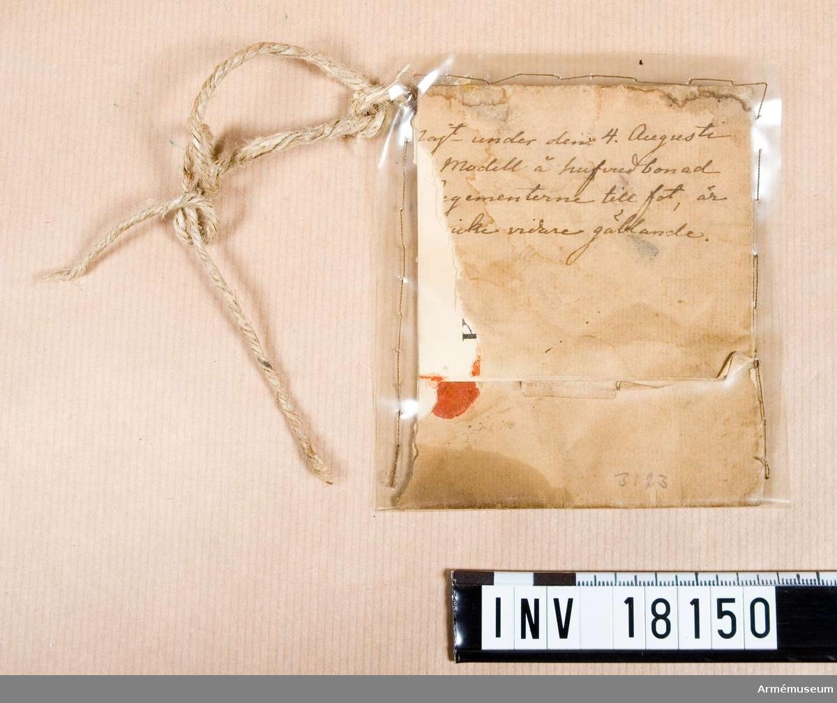 Grupp C I. Ur uniform för manskap, Andra livgardet 1833-45. Med svart plym.
