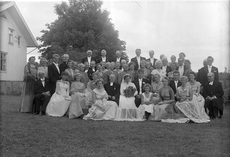 "Enligt fotografens journal nr 8 1951-1957: ""Johnson, Brudparet Johnson - Bengtsson, Spekeröd""."