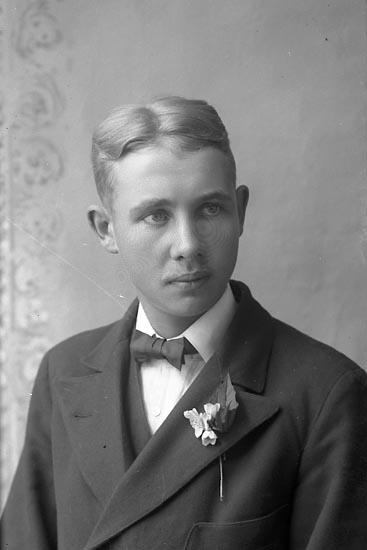 """Enligt fotografens journal Lyckorna 1909-1918: """"Olofsson, John Ljung Lyckorna""""."""