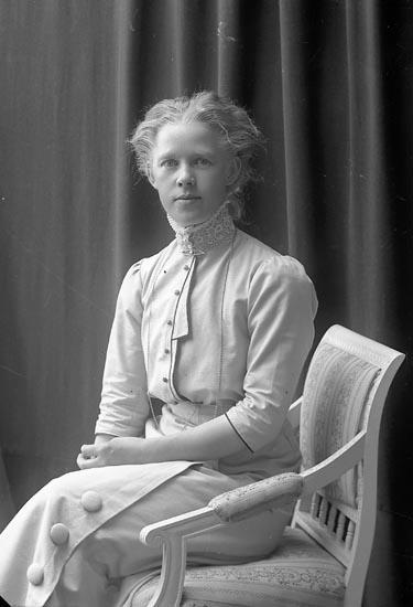 """Enligt fotografens journal nr 2 1909-1915: """"Jansson, Hulda Elfhög Trollhättan""""."""