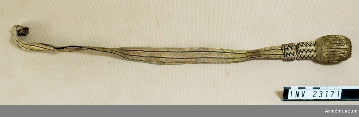 Samhörande nr är 23169-72, sabel, balja, portepé, fodral. Grupp D. Buren av major René Gyllenman i Svea livgardes reserv. Se AM 16666 sabelkoppel i gard.
