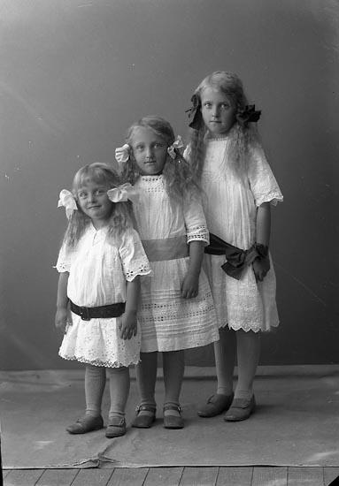 "Enligt fotografens journal nr 2 1909-1915: ""Nordqvist, Fru (tre flickor) Ödsmål""."