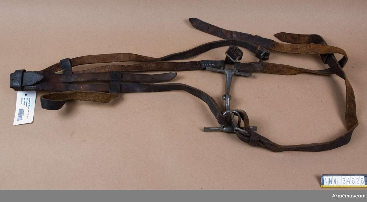 """Grupp K I Obekant modell. Förändrad m/1871 till trossfordons sele för armén. Huvudlagets sidstycken är fastsydda i tygelringarna. (Hos m/1871 är de hopspända i tygelringarna). Vänstra huvudlagets rem är märkt """"I:EKBERG"""". Bettets parerstänger är 106 mm långa (m/1871 har 135 mm långa). Vid den H tygelringen finns fastsydda ett söljstycke, l:80 mm, och en stropp, l:500 mm, b:25 mm och med en sölja. Vid V tygelring finns en hopspänd rem, l:500 mm, b:25 mm, som har två söljor. Detaljerad beskrivning av m/1871: AM 1932:9699."""