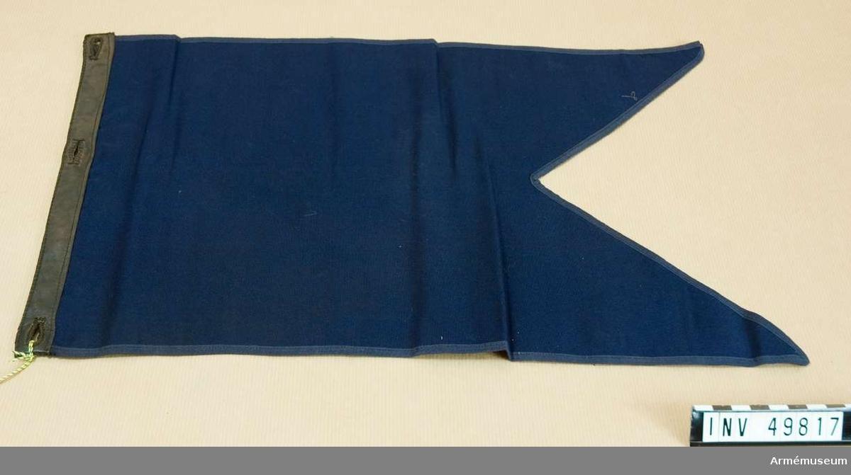 Grupp D I.  Flaggan är mörkblå och tvåtungad. Längs den bakre kanten är den förstärkt med en påsydd läderbård.