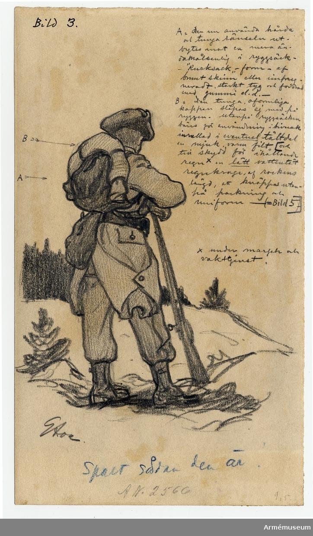 Grupp M I. Uniformsteckningar. Förslag till ny uniform, utförda av Gustav Ancarcrona 1902. Sju inglasade teckningar. Ekram.   Reinhold von Rosen deltog i utformningen av 1903-1906-1910 års uniformer.