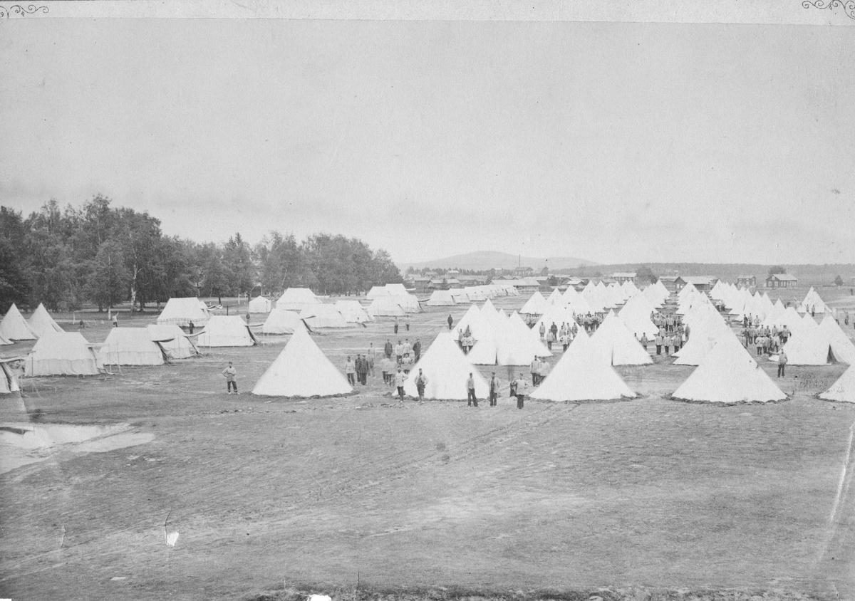 Dalregementets I 13, tältläger på Romehed under regementsmötet 1878.