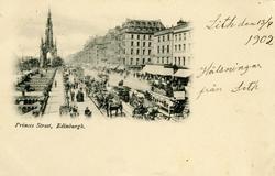Notering på kortet: Princes Street, Edinburg.