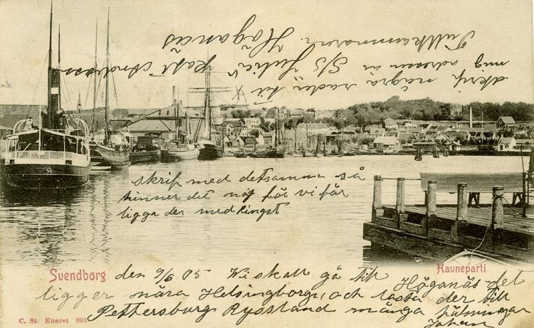 Notering på kortet: Svendborg. Havneparti.