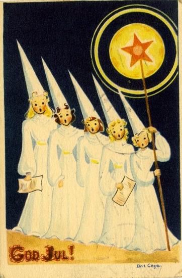"""Julkort från 1940-talet: """"God Jul!"""" Fem flickor som stjärngossar."""