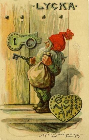 """Nyårskort. """"Gott Nytt År"""" i hjärtform. Tomte med nyckel till ett gammalt lås. """"Lycka"""" står det på dörren."""