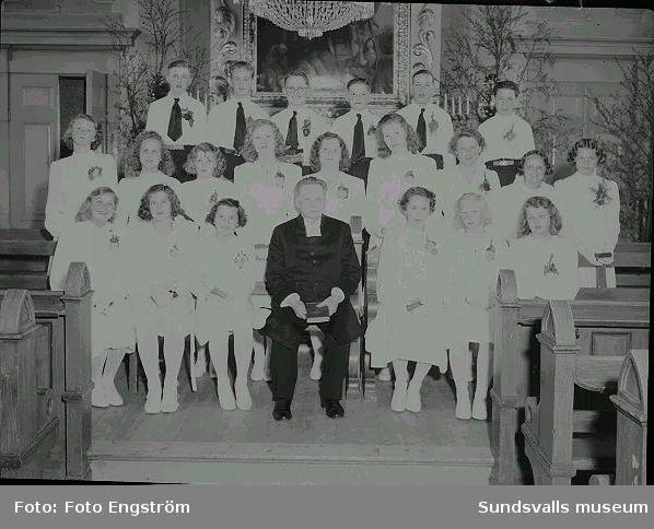 Porträtt, konfirmationsgrupp i Timrå kyrka.