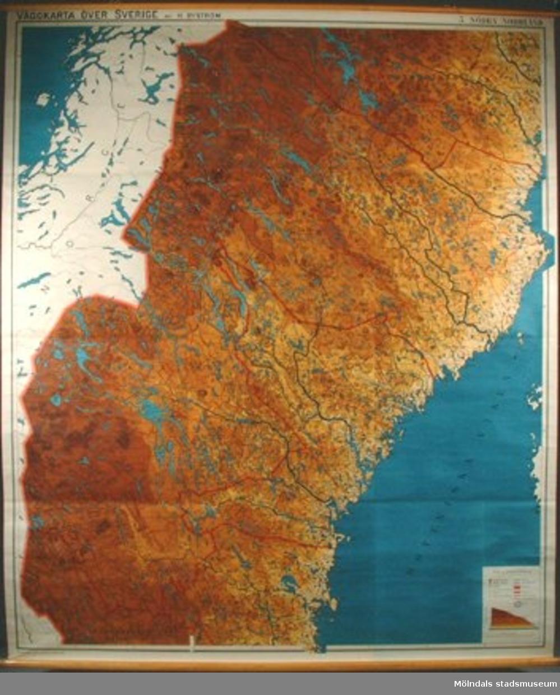 Geografisk karta över Södra Norrland.