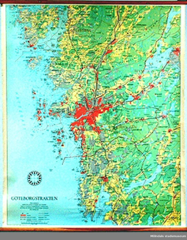 Skolkarta: Göteborgstrakten, märkt nr 16.16b: Närbild av Mölndal, Kållered och Lindome.