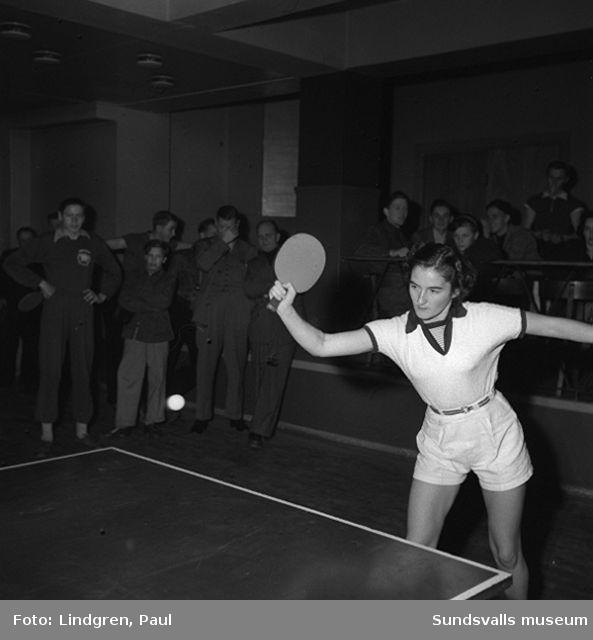 Final i Handboll, damer. Blixten. Bordtennis turnering. Tennishallen?