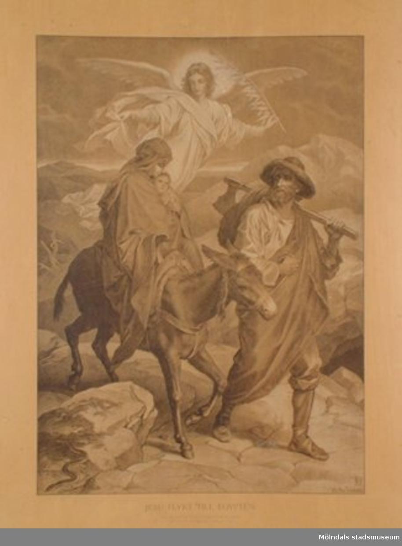 Kristendomskunskap.Jesu flykt till Egypten. (Matt. 2:14).Konstnär: Heinr. Hofmann.Planschen är ej monterad på hård skiva.