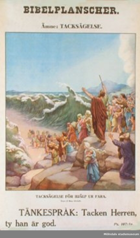 Kristendomskunskap.Bibelplanscher: Tacksägelse.Tacksägelse för hjälp ur fara. (2 Mos. 15:1-21).Konstnär: O. Stemler.