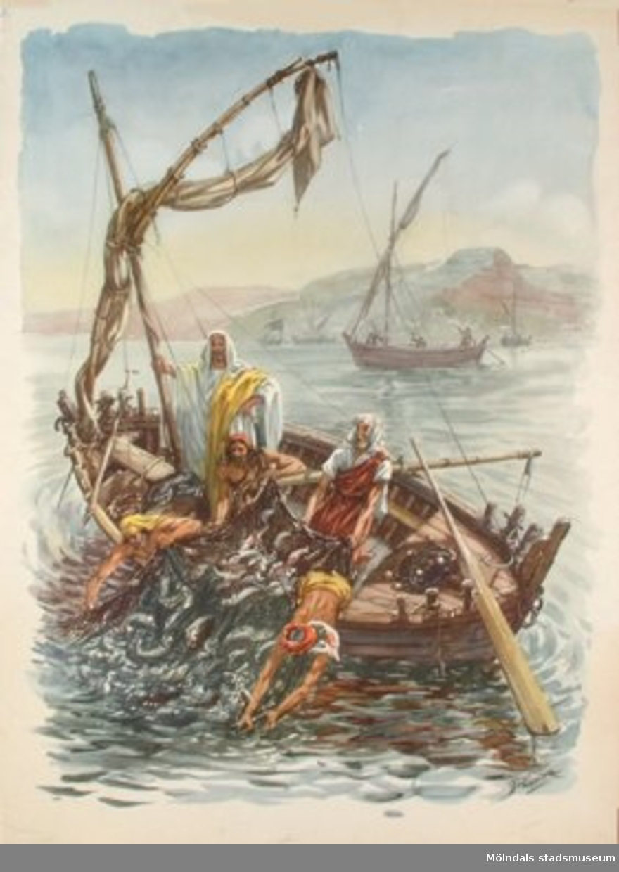 Kristendomskunskap.Det stora fiskefånget.Konstnär: J. Pander.
