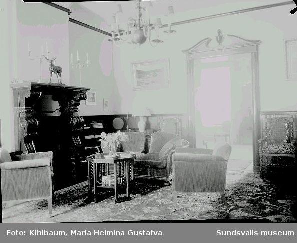 """Interiör från Villa Marieberg """" Nedre hallen """",  familjen Wikströms bostad."""