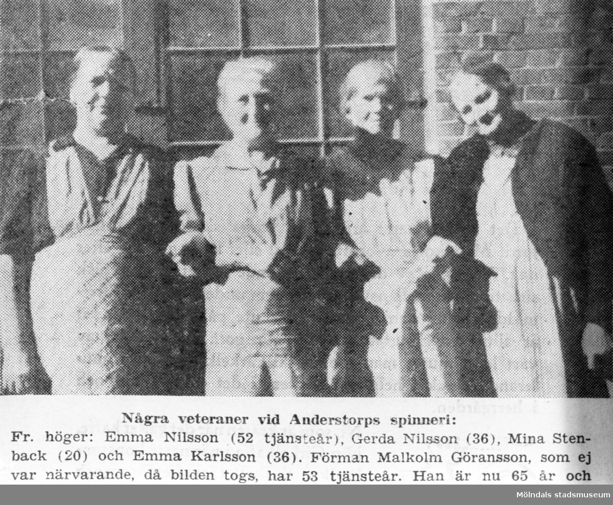 """Ur """"Norra Halland"""" 7/9 1945. Fyra veteraner avporträtterade. Emma Nilsson 52 tjänsteår, Gerda Nilsson 36, Mina Stenback 20, Emma Karlsson 36 tjänsteår."""