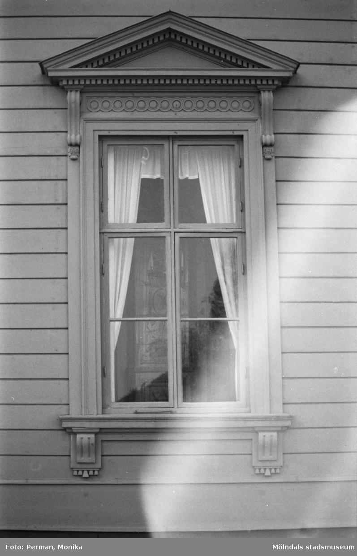 Varierande bilder som på olika avstånd visar norra och södra fasaderna samt del av parken våren 1992. Här visas ett av slottets fönster.