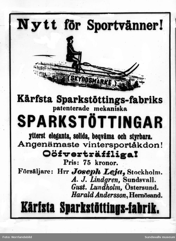 Reproduktion av reklamaffisch för Kärfsta sparkstöttingfabrik i Stöde.