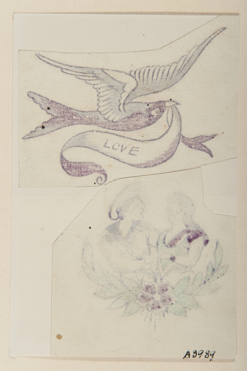 """Tatueringsförlaga. Två olika motiv. 1. En fågel med en banderoll med påskriften """"LOVE"""" i näbben. 2. En dubbelporträtt av en sjöman och en kvinna omgivet av en blomgirland."""