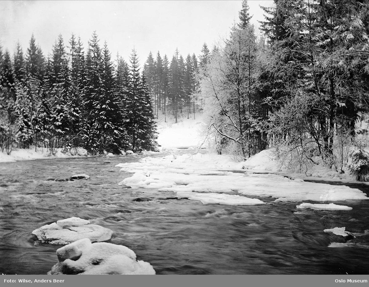 elv, snø, is, skog, vinterstemning