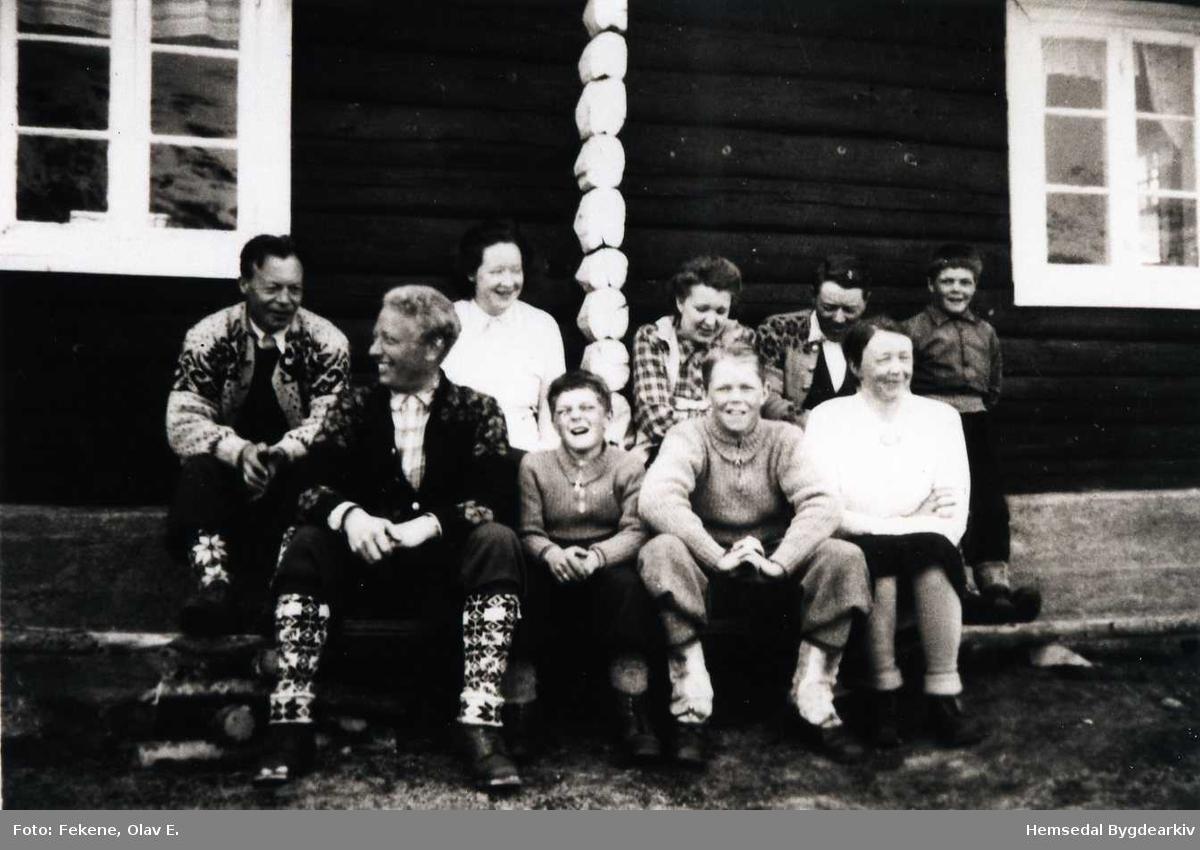 På Bakkestølane i Hemsedal 1947 eller 1948 Fremst frå venstre: Arne Finset, Odd Fekene, Erik Fekene og Birgit Fekene. Bak frå venstre: Anton Bjørli, Gunvor Bjørli, Ingebjørg Fekene, Oskar Fekene og Bjarne Fekene.