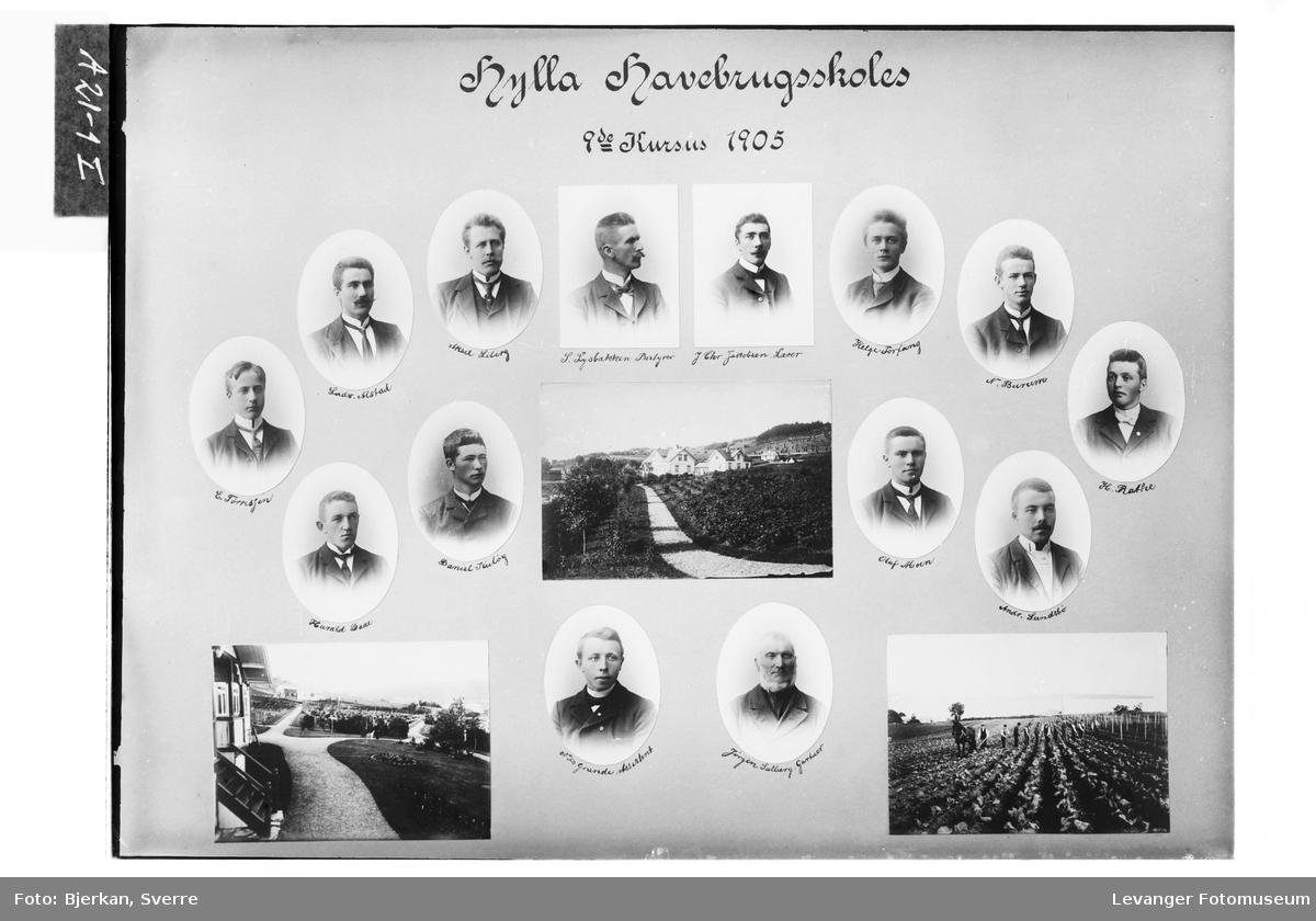 Skolebilde av 8.kursus ved Hylla Havebrugsskole.