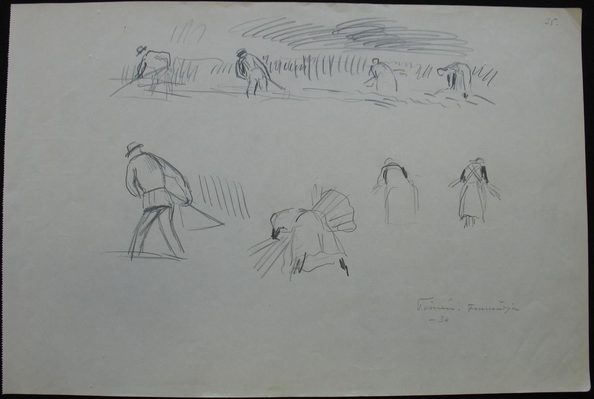 Teckning : Fnerödja.  Tecknad av Frans Timén 1930.    Frans Timén föddes i Göteborg 1883 men flyttade med familjen till Vänersborg 1898 då hans far erhöll tjänst som direktör vid länsfängelset i staden. Redan i mycket unga år visade Timén konstnärliga anlag varom tidiga teckningar och oljemålningar från Göteborg och Vänersborg visar. Vårterminen 1906 antogs han som elev för Carl Wilhelmsson vid Valands konstskola i Göteborg. Åren 1911-12 vistades han i Paris där han tog djupa intryck av Cézanne och kubisterna. Återkommen från Paris drev han ateljé med elever på Katrinedal i Vänersborg innan han 1918 lämnade staden. Efter giftermål flyttade Frans Timén till Örebro på 1930-talet och kom att bli staden trogen under återstoden av livet , även om han aldrig kände sig som Örebroare. Sina motiv kom han att hämta från Bergslagen, Tivedsskogarna och inte minst från Västkusten där han tillbringade somrarna. Timén, som fick en grundmurad ställning i svenskt konstliv, avled i Örebro 1968. Enligt egen önskan begravdes han i ungdomsstaden Vänersborg där han nu vilar på Strandkyrkogården.