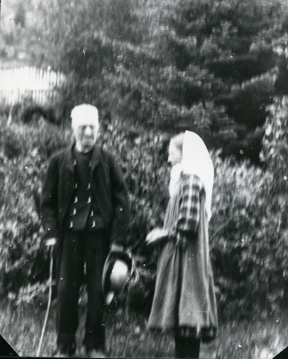 Mann med stav og hatt i hånda, sammen med kvinne med skaut, stående utendørs. Lauv, barskog og stakittgjerde i bakgrunnen