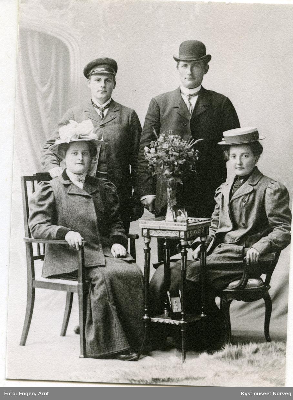 Eline Bjørkneset, Wilhelm Brækkan til venstre, Jorunn Smines og Sigvart Fossaa