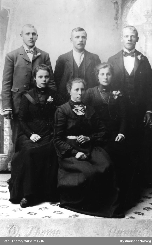 Fra venstre: Anton Hunnestad og Alvhilde Hunnestad, Olaf Buøy og Mary Dalin Buøy, Anton K. Storsul og Magda Storsul