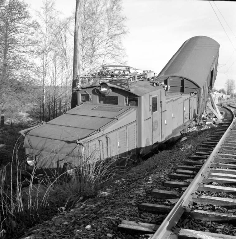 Tågurspårning i Öxnered utanför Vänersborg den 7 januari 1960