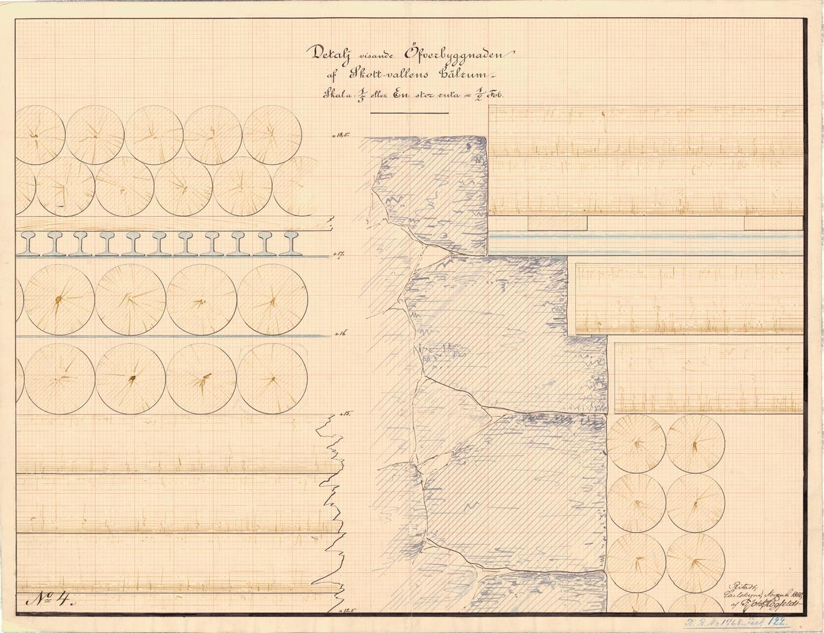 Ritning på detaljer visande överbyggnad av skottvallens hålrum.