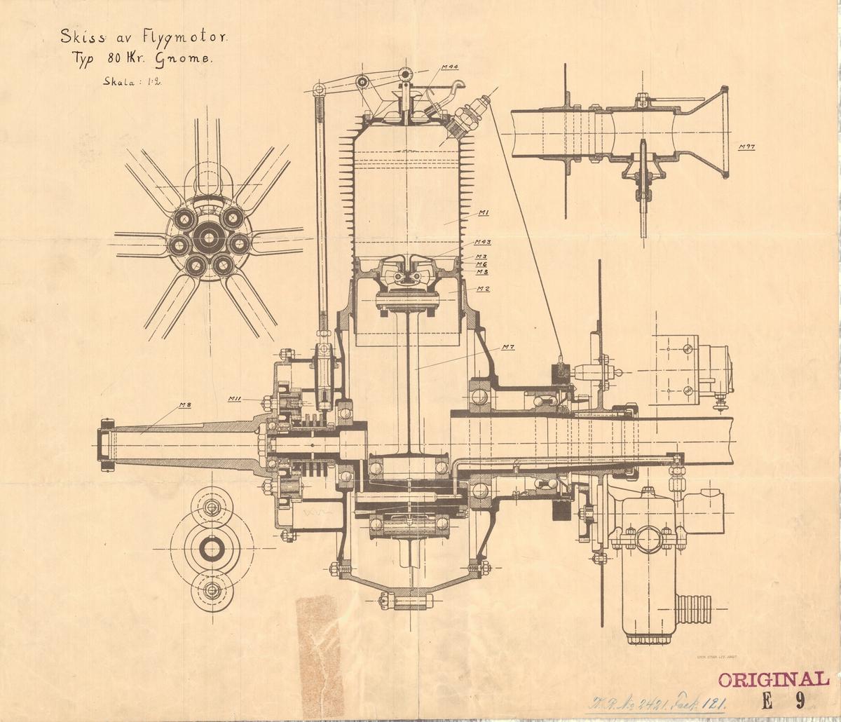 Skiss av flylgmotor, typ 80 hkr Gnome