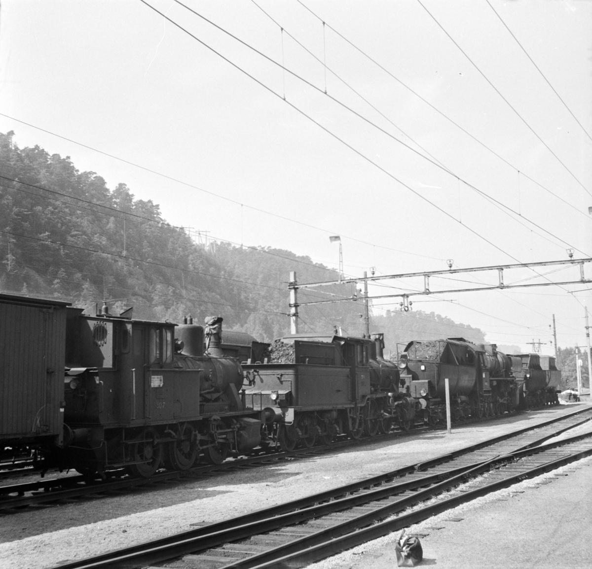 Hensatte damplokomotiver på Krossen ved Kristiansand. Nærmest type 25a nr. 307 (hensatt i 1965, utrangert i 1969), deretter 21c 376 (utrangert i 1971) og bakerst 63a 4836 (utrangert i 1970). Lok 376 var det siste damplok som var i drift ved NSB.
