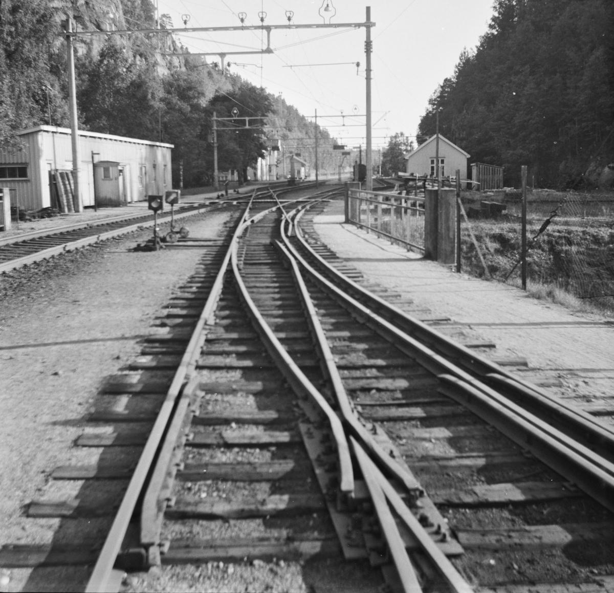 Sporveksel for to sporvidder, 1435 mm (normalspor) og 1067 mm (smalspor) på Grovane stasjon.