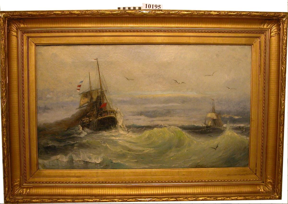 Hjulångare och segelfartyg, danskt.