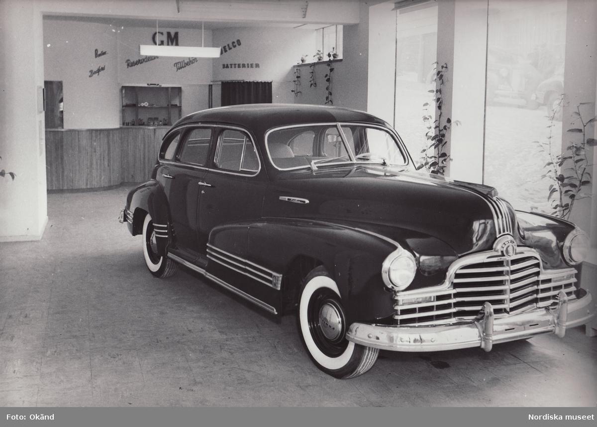"""General Motors Nordiska Ab. """"En ny Pontiac Torpedo 1946 till salu hos GM-återförsäljaren Eskels Bil AB i Borås"""""""