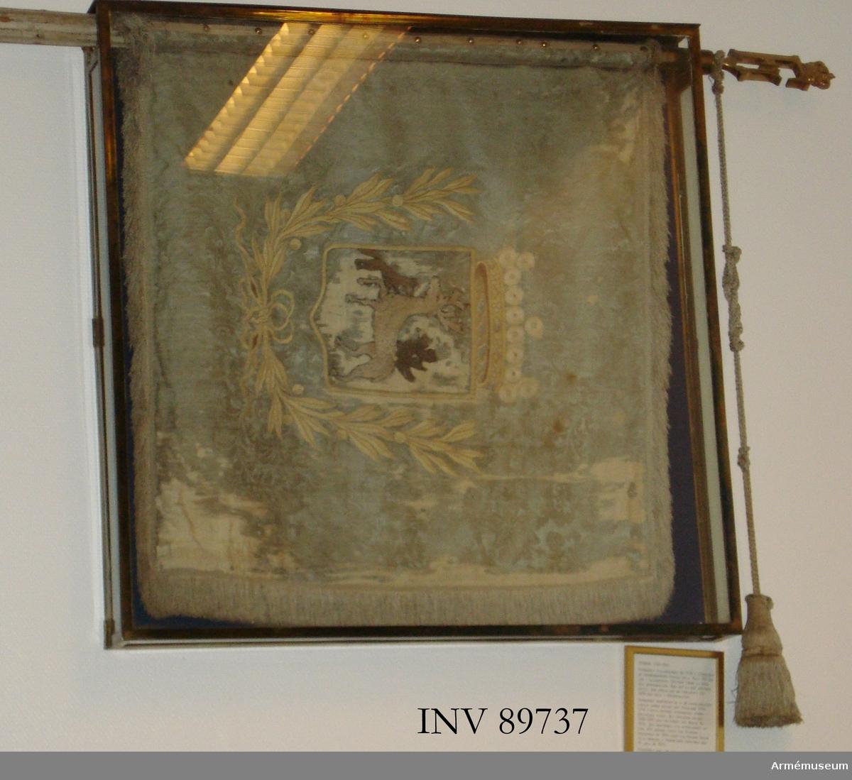 På ljusblå duk Jämtlands landskapsvapen under öppen krona samt omgiven av en lagerkrans. Motivet broderat. Duken är konserverad. Originalkordongerna är bevarade men spetsen på standaret är inte original.