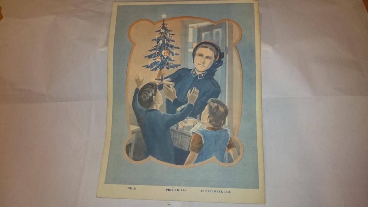 Framside: motiv frå juleevangeliet. Baksida: ei kvinne i armeuniform som held eit juletre og ei korg med gåver framfor to born.